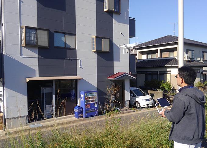 住宅塗装でのドローン現地調査